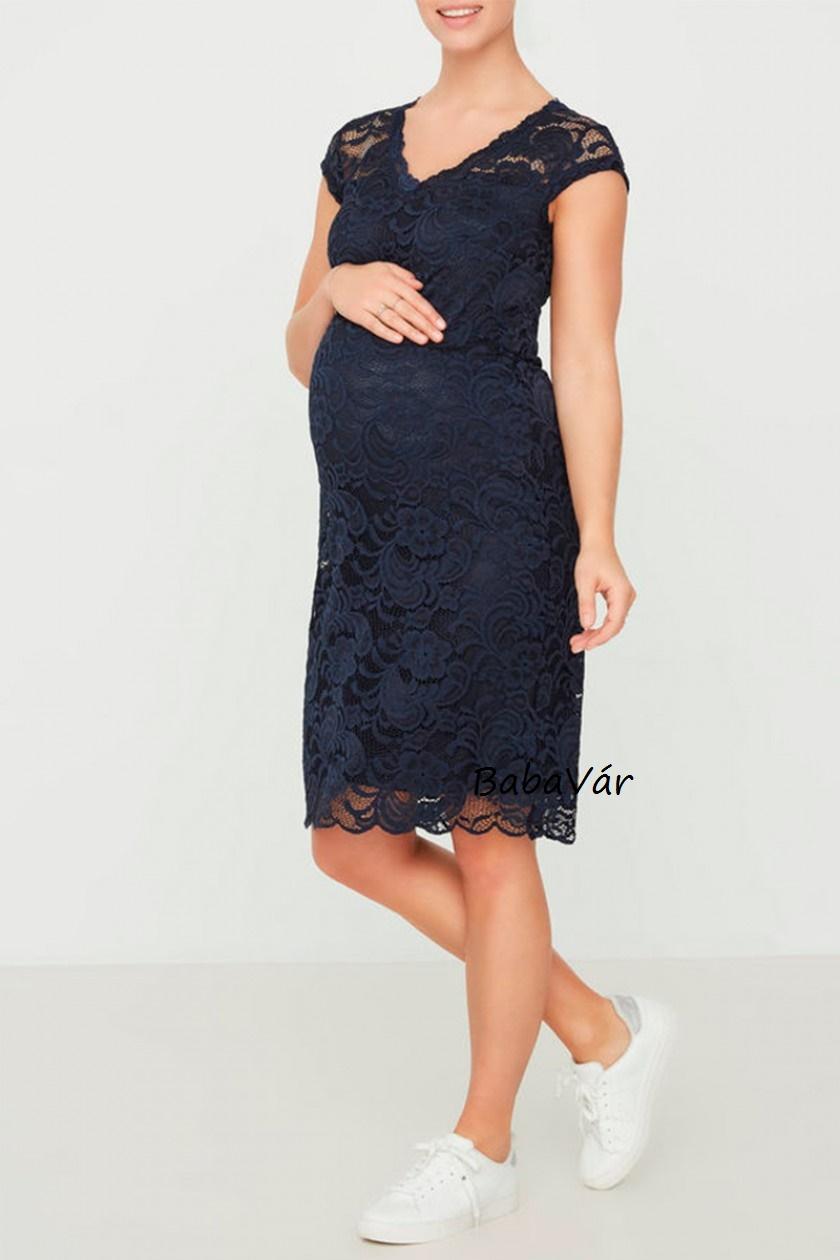 17f208ee7e Mama Licious new Mivana kék csipke kismama ruha | BabaMamaOutlet.hu