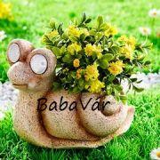 Kerti dekor: Solár virágtartó csiga