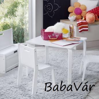 Momo for Kuids York  tömör fa asztal szett 3 részes fehér