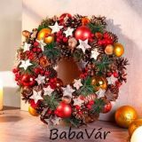 Karácsonyi dekor: csillagos terméses koszorú