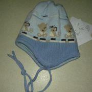 Maximo kék állatos kötött bélelt téli sapka