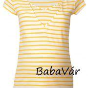 Pomkin Lise sárga csíkos szoptatós/ kismama póló