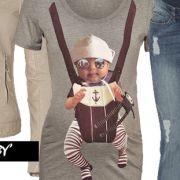 Queen Mum rövid ujjú kismama póló: Baby Tee Sand