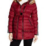BellyButton Kapucnis  2 az 1-ben toll kismama téli kabát Dark Wine Red