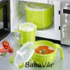 Mikrózható műanyag ételtároló edény szepeles tetővel zöld