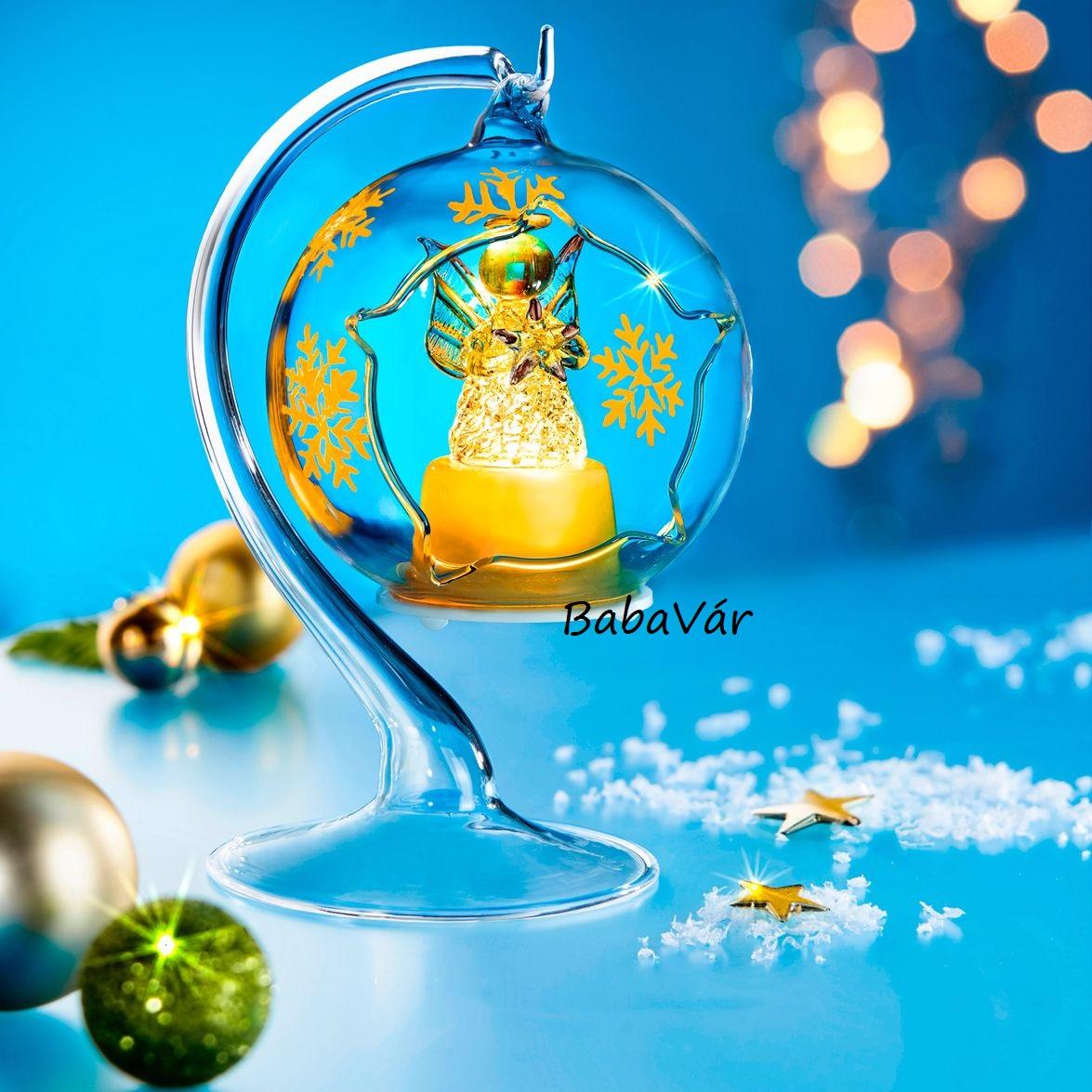 Karácsonyi álom: üveg világító asztali dísz Angyal