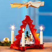Színes Karácsonyi piramis forgó fából