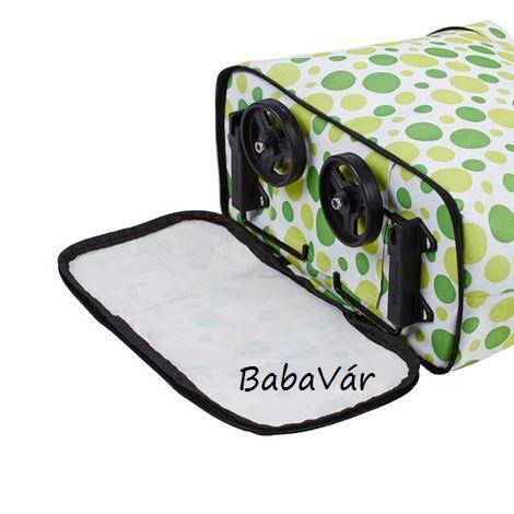 ba05f54849e0 Összehajtható,átalakítható gurulós bevásárló táska zöld karika mintás