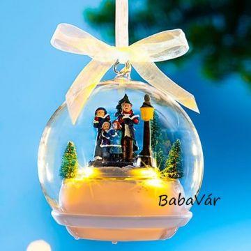 Karácsonyi varázslat zenélős világítós üveg zenedoboz