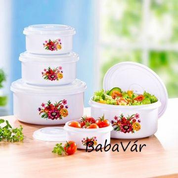 Műanyag ételtároló edény szett tetővel Virágos