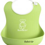 Babybjörn morzsatálcás műanyag előke zöld