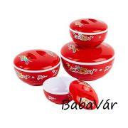 Műanyag ételtároló edény tetővel Piros Virágos 480ml