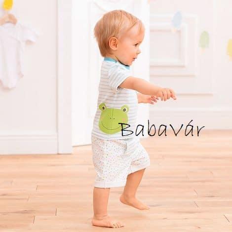 Bornino Confetti Animals fehér kék csíkos békás rövid ujjú póló