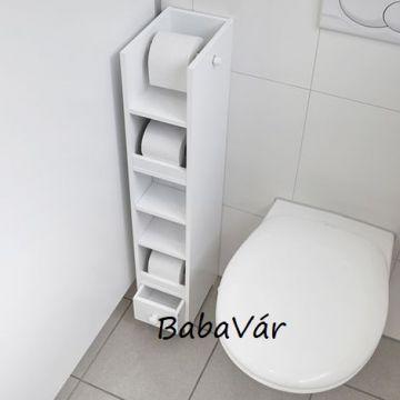 WC  papír tartó és tároló fehér fa fürdőszobai polc