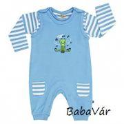 Jacky Baby kék békás pamut lábfej nélküli rugi szett