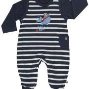 Jacky Baby kék csíkos bálnás pamut rugi szett