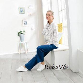 Star Collection kék kismama lenvászon nadrág
