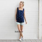 2Hearts MARITIME SUMMER kék tengerész mintás szoptatós/ kismama trikó