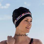 Fashy Fekete /színes textil könnyített úszósapka