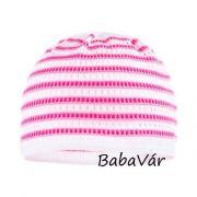 Maximo rózsaszín csíkos horgolt hatású baba sapka