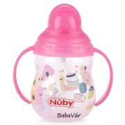 NUBY Flip-it szívószálas fogantyús itató 270ml rózsaszín csigás