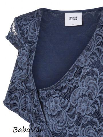 Mama Licious Mivana cap kék csipke kismama ruha