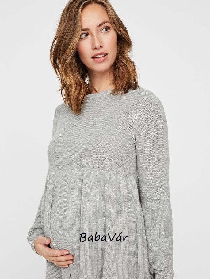 0b607782ee Mama Licious Zoe kötött szürke kismama pulóver | BabaMamaOutlet.hu