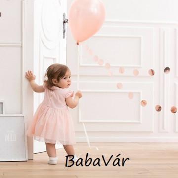 Puha pamut tüll szoknyás alkalmi kislányruha szett keresztelőre Rózsaszín
