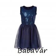 Loki kék flitteres tüll elegáns kislány ruha
