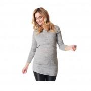 Noppies szürke melange kötött kismama/szoptatós pulóver