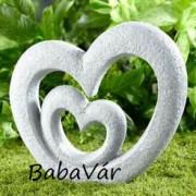 Kerti dekor: Műkő hatású dupla nagy szív
