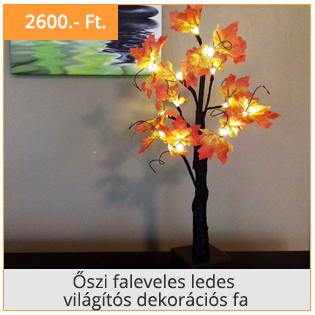Őszi faleveles ledes világítós dekorációs fa