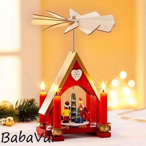 Színes Karácsonyi házikó piramis forgó fából