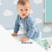 Bornino Panda Time pandás kék/fehér kifordítható baba pulóver