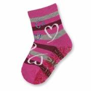 Sterntaler pink szivecskés mintás tappancsos zokni
