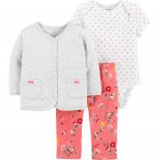 Carters rózsaszín virág mintás baba 3 részes ruhaszett