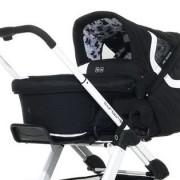 Abc Design Carry Cot  lábzsákká alakítható merev textil mózeskosár fekete fehér