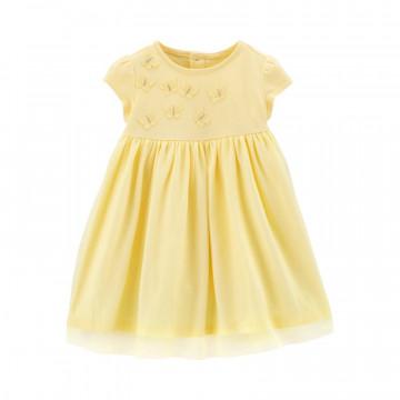 Carter's alkalmi tüllös pillangós kislányruha szett sárga