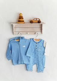 Jacky Baby kék my little trip pamut lábfej nélküli rugi szett