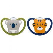 NUK Space Szilikon altatócumi szett : tigris és koala