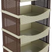 Tuffex 4 szintes műanyag/műrattan tároló polc