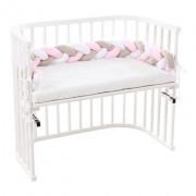 Babybay rácsvédő párna bölcsőbe / kiságyba rózsaszín fonott