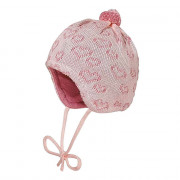 Maximo rózsaszín szívecskés bojtos kötött baba sapi