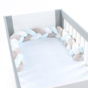 Babybay rácsvédő párna bölcsőbe / kiságyba kék fonott 170cm