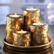 Adventi kerámia gyertyaszett Arany