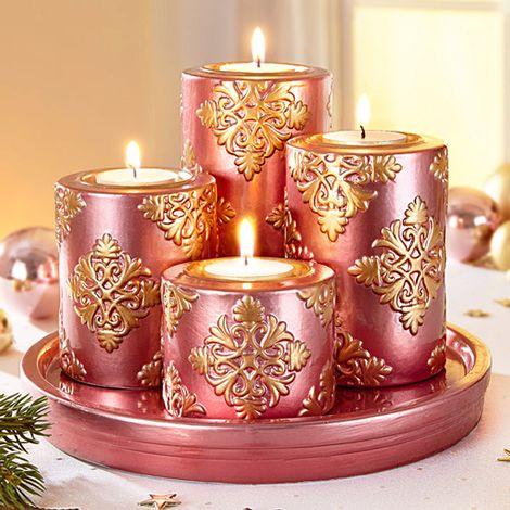 Adventi kerámia gyertyaszett  Rózsaszín